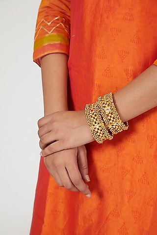 Gold Finish Red Stone Bangles by VASTRAA Jewellery