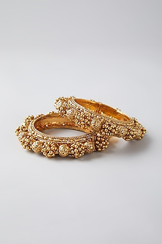 Gold Finish Bangles With Ghungroos by VASTRAA Jewellery