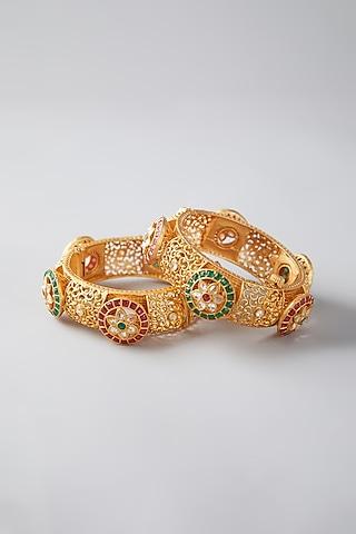 Gold Finish Synthetic Stone Bangles by VASTRAA Jewellery