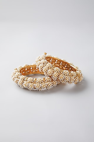 Gold Finish Bangles With Pearls by VASTRAA Jewellery