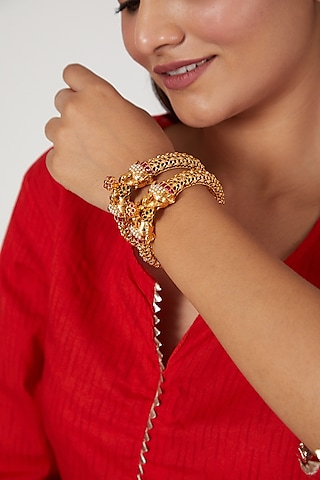 Gold Finish Synthetic Stone & Pearl Bangles by VASTRAA Jewellery