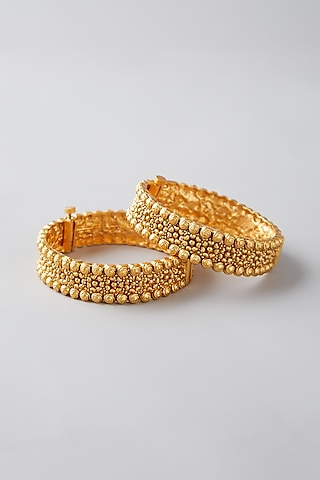Gold Finish Temple Openable Bangles by VASTRAA Jewellery