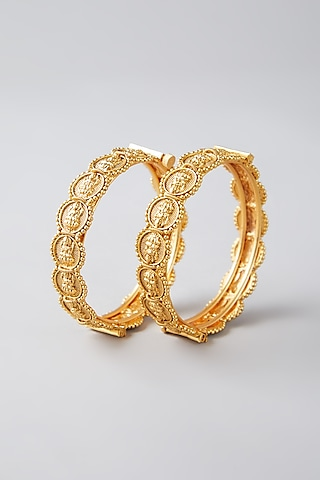 Gold Finish Temple Motif Bangles by VASTRAA Jewellery
