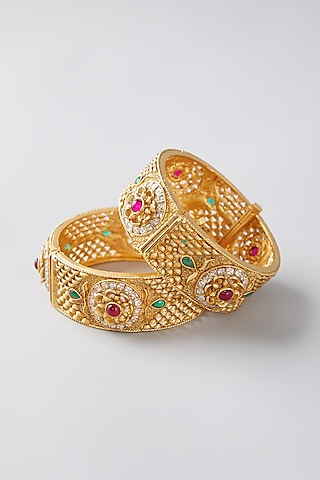 Gold Finish Multi Colored Synthetic Stone Bangles by VASTRAA Jewellery