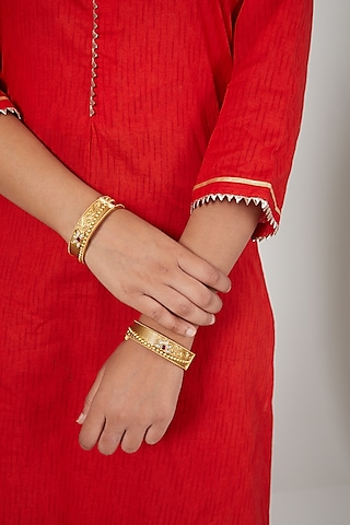 Gold Finish Multi Colored Stone Bangles by VASTRAA Jewellery
