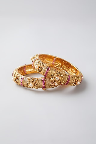Gold Finish Ruby & Pearl Bangles by VASTRAA Jewellery
