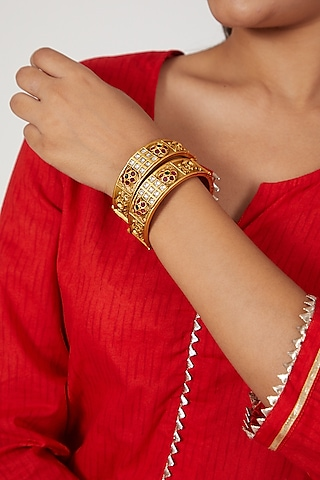 Gold Finish Temple Motif Openable Bangles by VASTRAA Jewellery