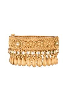 Gold Finish Kundan Broad Bangle by VASTRAA Jewellery