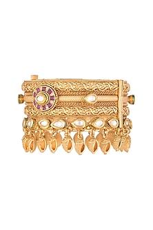 Gold Finish Kundan Antique Broad Bangle by VASTRAA Jewellery