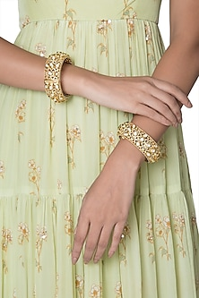 Gold Finish Green Enameled Openable Bangles by VASTRAA Jewellery