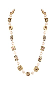 Gold Finish Engraved Mala Necklace by VASTRAA Jewellery