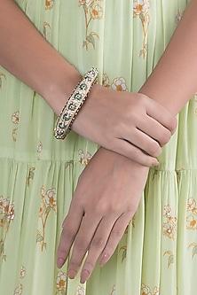 Gold Finish Green Meenakari Openable Bangle by VASTRAA Jewellery