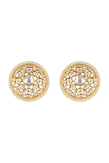 Gold Finish Faux Pearls & Kundan Stud Earrings by VASTRAA Jewellery