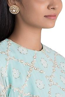 Gold Finish Faux Pearls & Kundan Stud Earrings by VASTRAA Jewellery