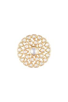 Gold Finish Kundan Ring by VASTRAA Jewellery