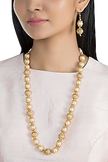 Gold Finish Metal Balls & Pearls Mala Necklace Set by VASTRAA Jewellery