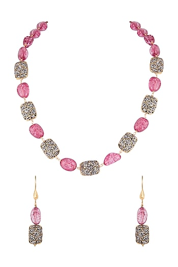 Gold Finish Pink & Black Stones Mala Necklace Set by VASTRAA Jewellery