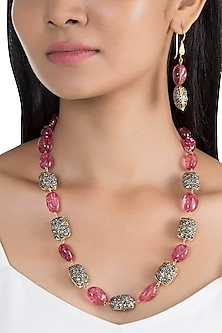Gold Finish Pink & Black Stones Mala Necklace Set by VASTRAA Jewellery