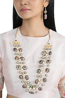 Gold Finish Layered Mala Necklace Set by VASTRAA Jewellery