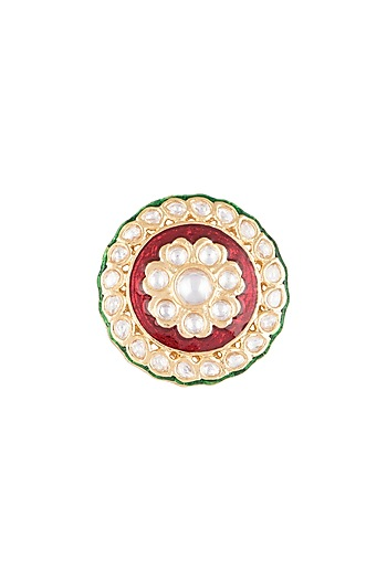Gold Finish Red & Green Meenakari Ring by VASTRAA Jewellery