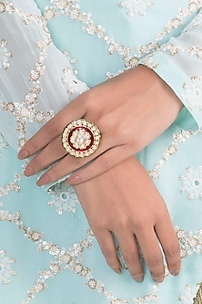 Gold Finish Red & Green Meenakari Ring by VASTRAA Jewellery