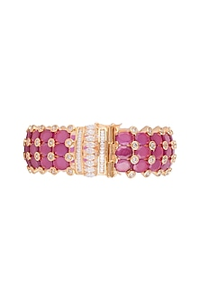 Gold Finish Faux Diamonds & Pink Stones Bangle by VASTRAA Jewellery