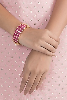 Gold Finish Faux Diamonds & Pink Stones Bangle by VASTRAA Jewellery