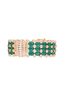 Gold Finish Faux Diamonds & Green Stones Bangle by VASTRAA Jewellery
