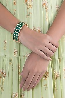 Gold Finish Faux Diamonds & Green Stones Bangle by VASTRAA Jewellery