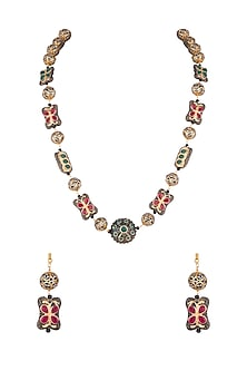 Gold Finish Multi Colored Stones Mala Necklace Set by VASTRAA Jewellery