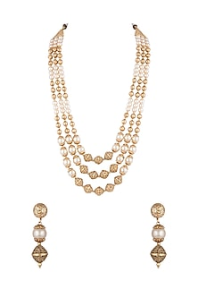 Gold Finish Faux Pearls & Metal Balls Necklace Set by VASTRAA Jewellery