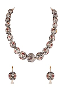 Gold Finish Red & Black Stones Mala Necklace Set by VASTRAA Jewellery