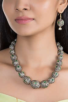 Gold Finish Green & Black Stones Mala Necklace Set by VASTRAA Jewellery