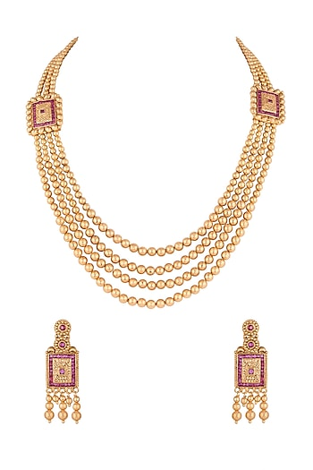 Gold Finish Pink Stones Layered Mala Necklace Set Design By