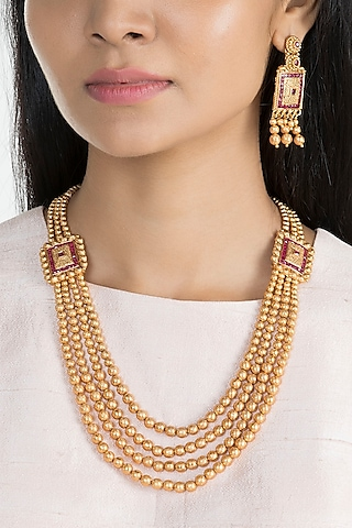 Gold Finish Pink Stones Layered Mala Necklace Set by VASTRAA Jewellery