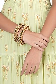 Gold Finish Red Enameled Kundan Bangles by VASTRAA Jewellery