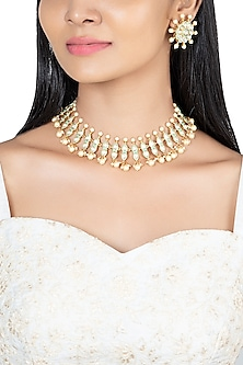 Gold Finish Faux Kundan & Pearl Enameled Necklace Set by VASTRAA Jewellery