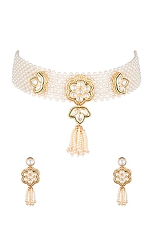 Gold Finish Green Enamelled Choker Necklace Set by VASTRAA Jewellery