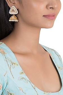 Gold Finish Enamelled Antique Jhumka Earrings by VASTRAA Jewellery