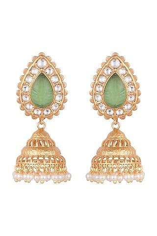 Gold Finish Kundan Jhumka Earrings by VASTRAA Jewellery
