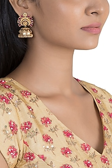 Gold Finish Pink Stone Jhumka Earrings by VASTRAA Jewellery