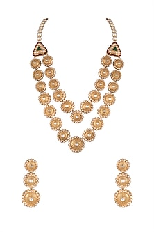 Gold Finish Enamelled Double Line Necklace Set by VASTRAA Jewellery