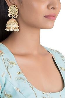 Gold Finish Enamelled Jhumka Earrings by VASTRAA Jewellery