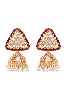 Gold Finish Faux Pearl Enamelled Jhumka Earrings by VASTRAA Jewellery