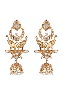 Gold Finish Antique Elephant Earrings by VASTRAA Jewellery