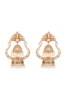 Gold Finish Faux Pearl & Kundan Enamelled Jhumka Earrings by VASTRAA Jewellery