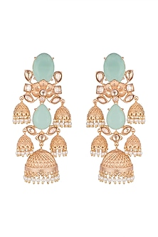 Gold Finish Blue Stone Antique Jhumka Earrings by VASTRAA Jewellery