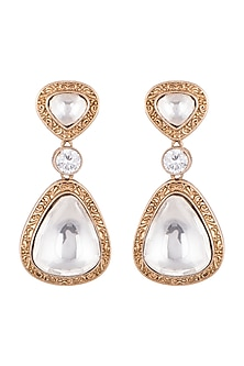 Gold Finish Kundan Engraved Earrings by VASTRAA Jewellery