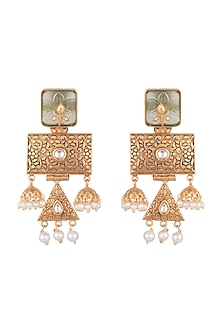 Gold Finish Engraved Antique Earrings by VASTRAA Jewellery