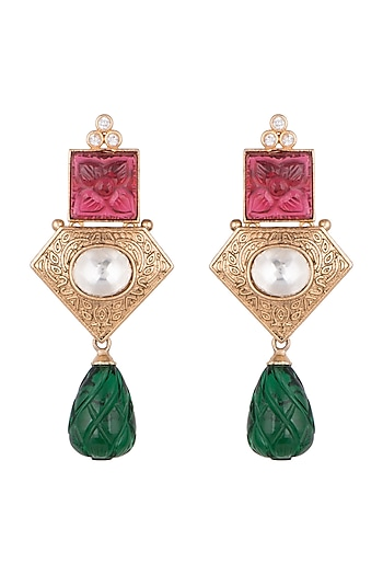 Gold Finish Red & Green Stone Earrings by VASTRAA Jewellery